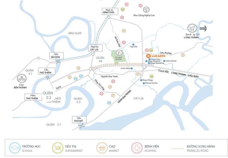 Vị trí thuận lợi của biệt thự Lucasta quận 9 của Khang Điền