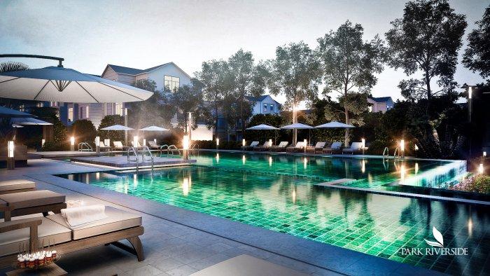 Hồ bơi theo phong cách resort tại biệt thự Park Riverside