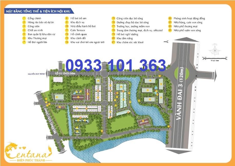 Mặt bằng tổng thể dự án khu dân cư bán compound Centana Điền Phúc Thành quận 9