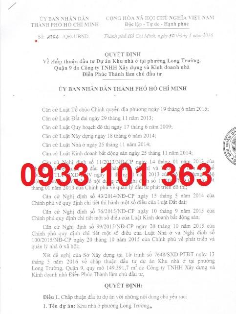 Pháp lý dự án khu dân cư bán biệt lập Centana Điền Phúc Thành quận 9