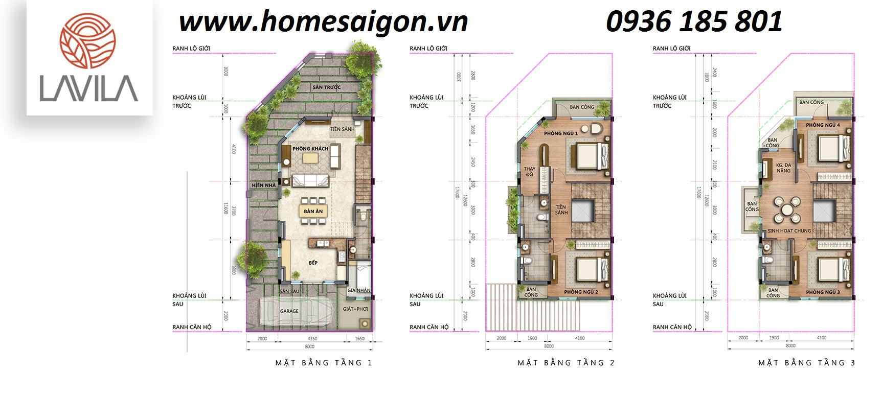 Mặt bằng căn góc dự án Lavila Kiến Á