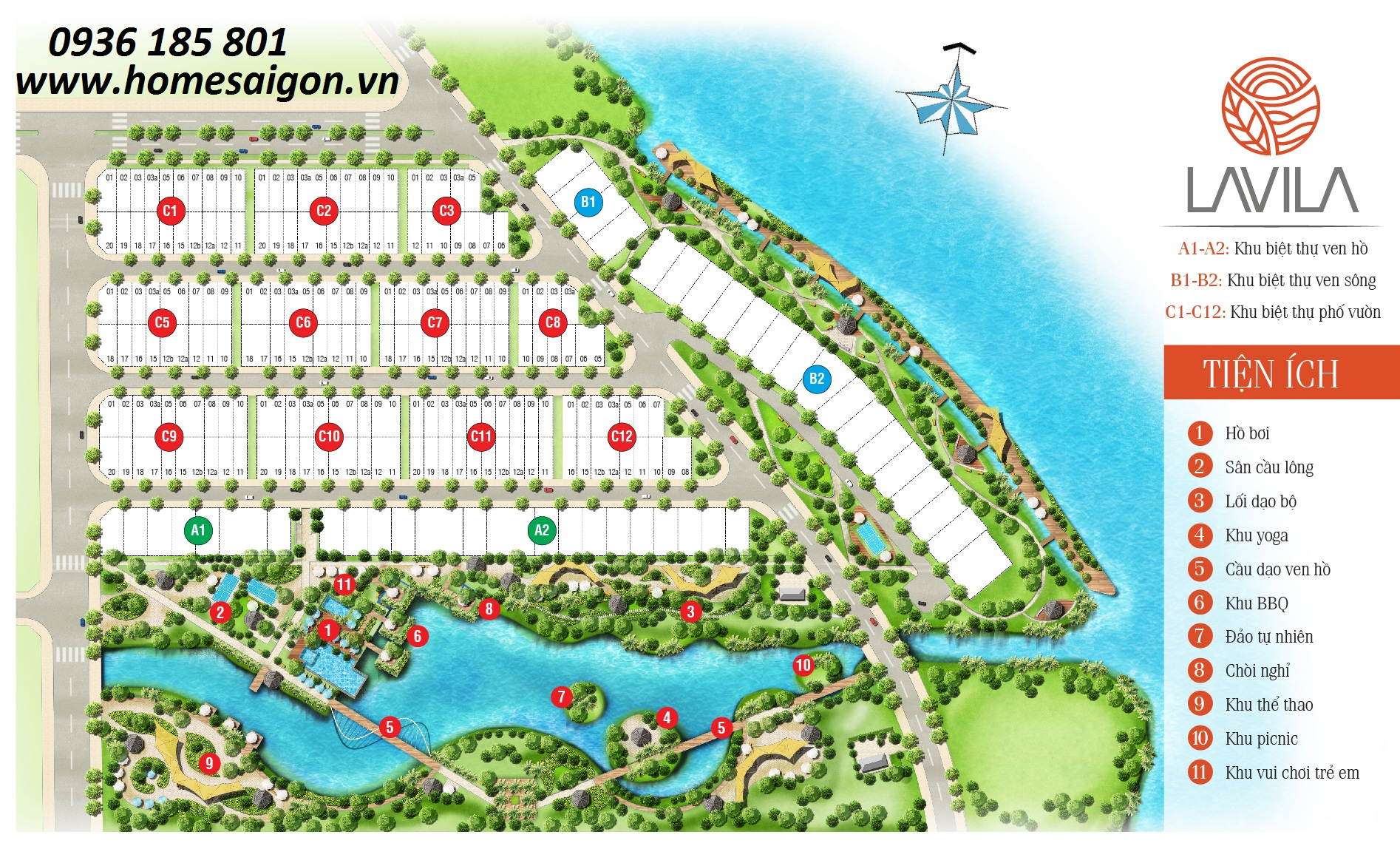 Mặt bằng tiện ích nội khu dự án Lavila Kiến Á, Nhà Bè