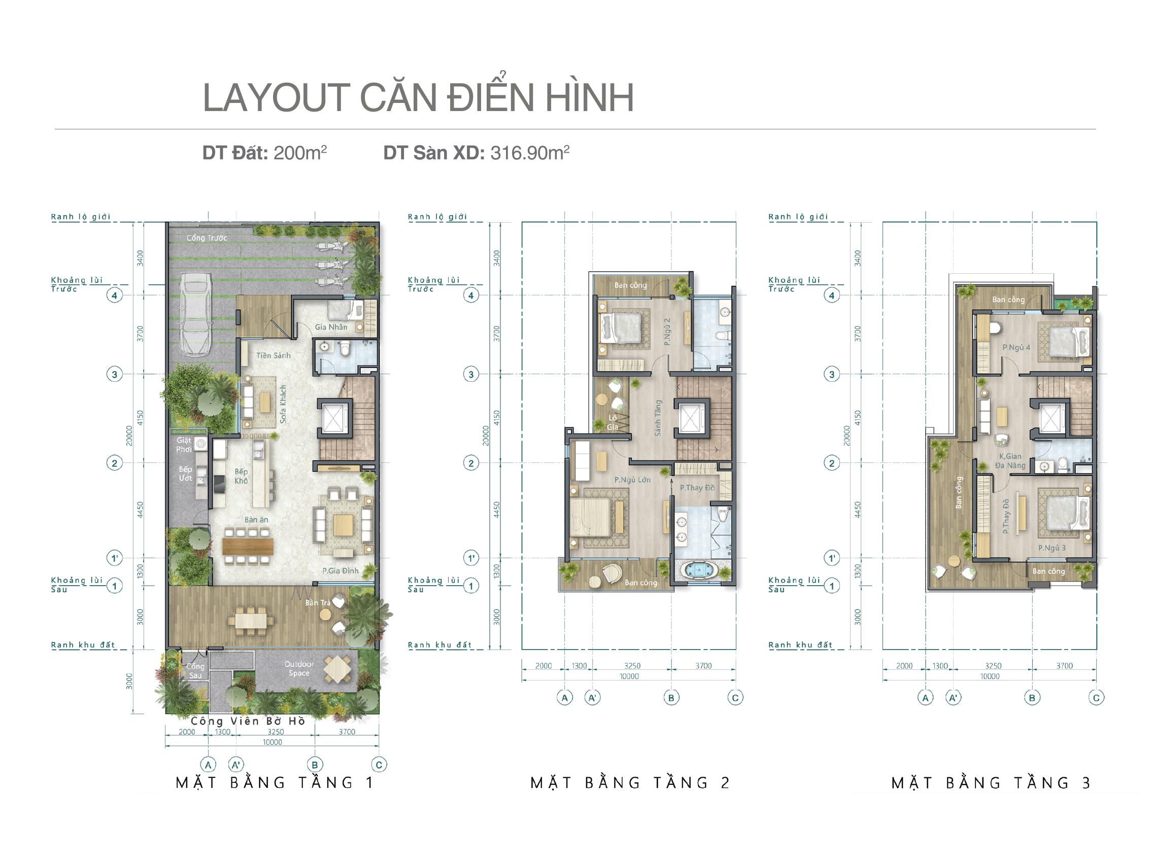 Thiết kế căn biệt thự hồ Lavila căn thông dụng