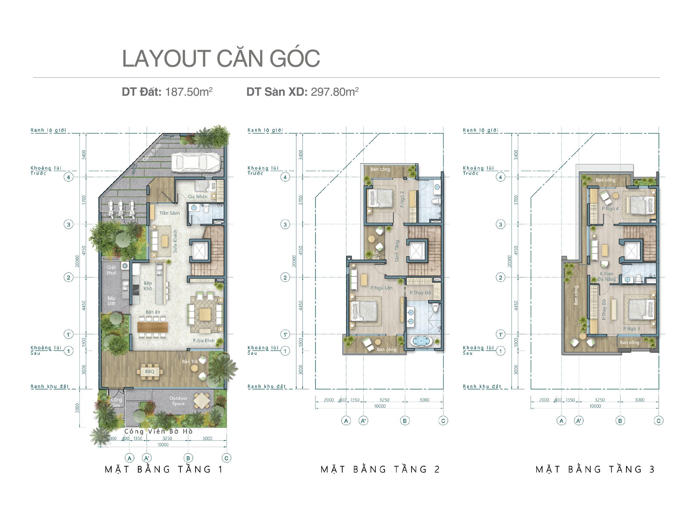 Thiết kế căn góc biệt thự ven hồ Lavila