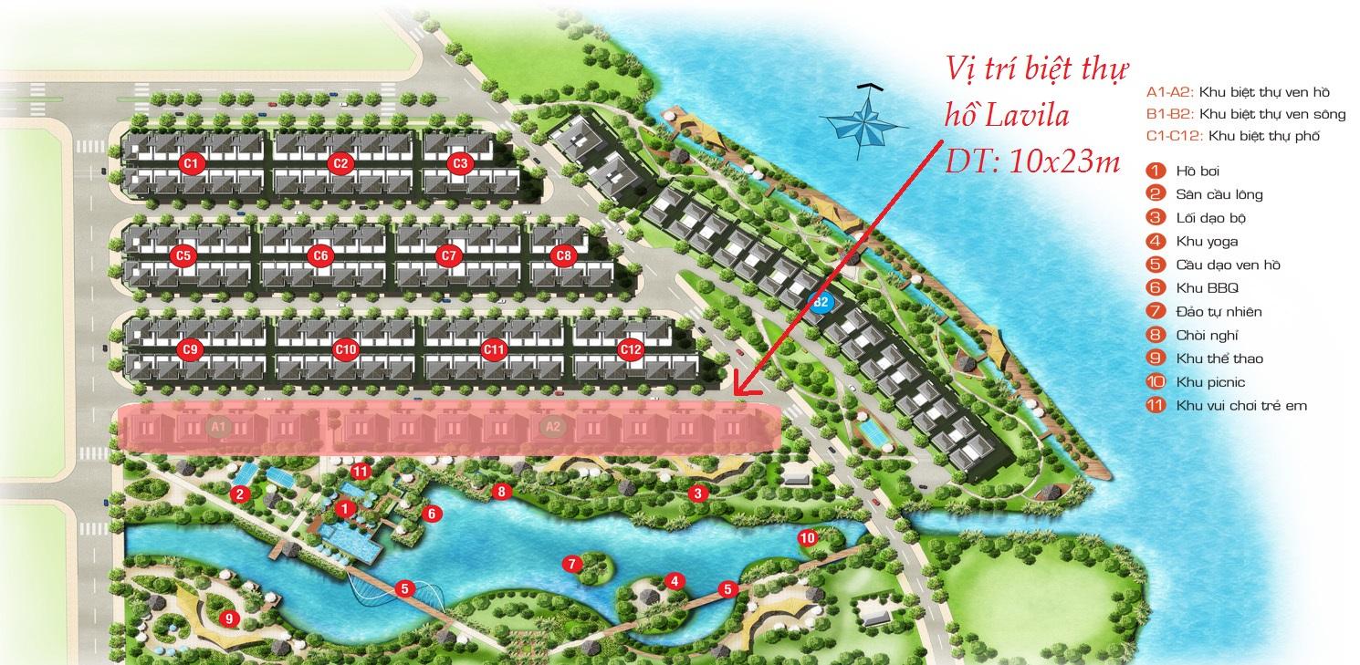Vị trí dãy biệt thự hồ Lavila Kiến Á
