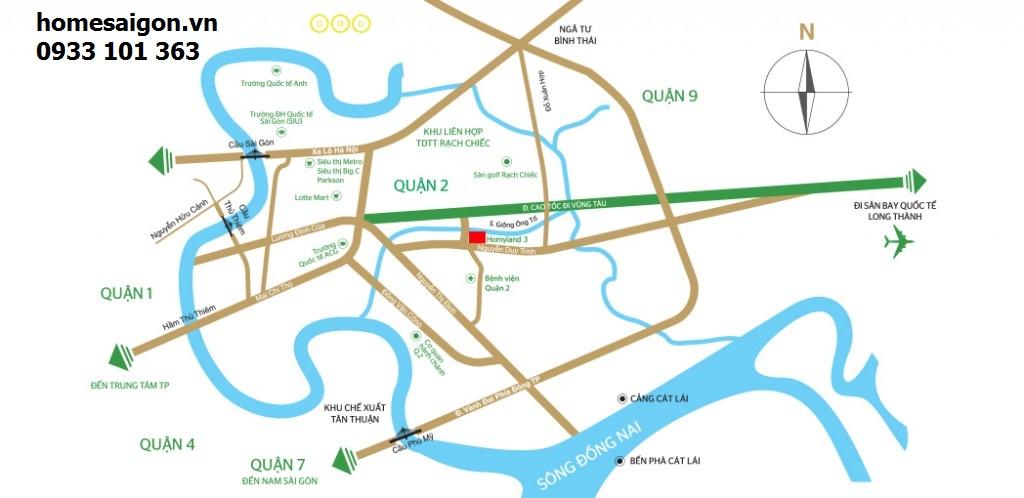 Vị trí căn hộ homyland riverside cạnh đường song hành quận 2