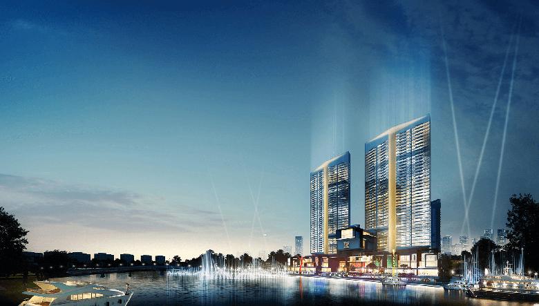 CẢnh đêm ven sông dự án Kenton Node Hotel Complex