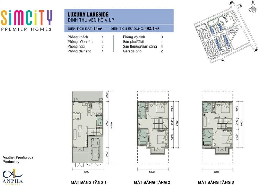 mat bang nha pho du an sim city premier homes luxury lakeside
