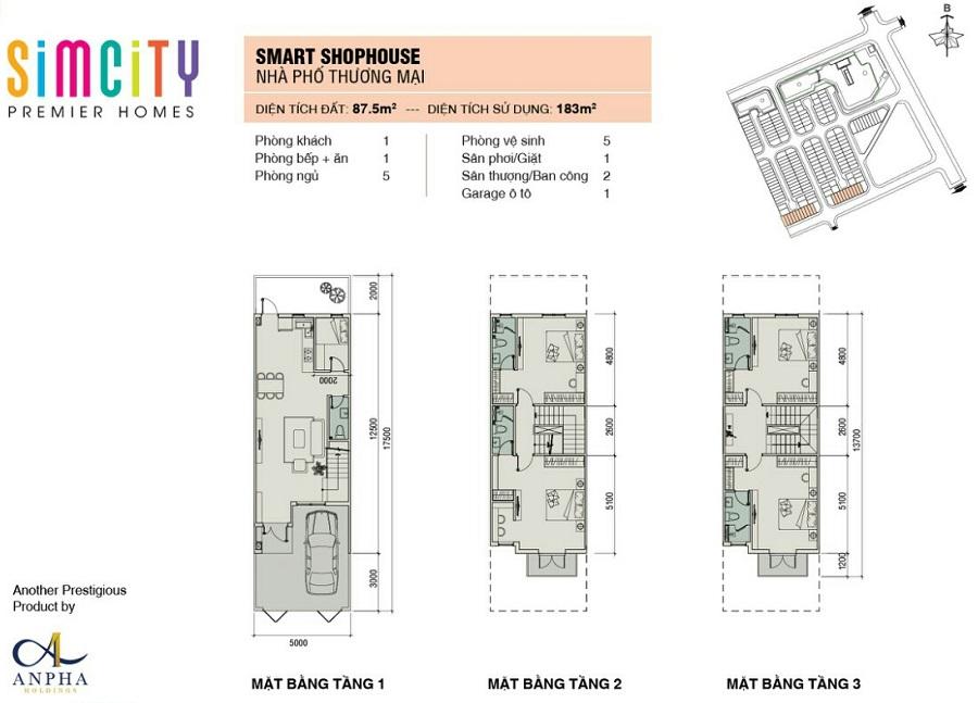 mat bang nha pho du an sim city premier homes shophouse