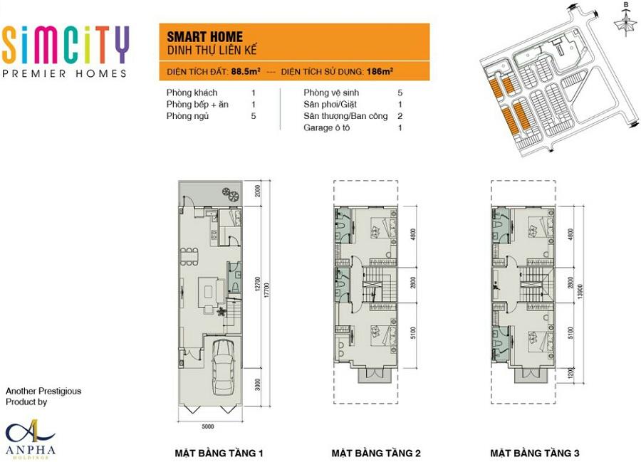 mat bang nha pho du an sim city premier homes smart home lien ke