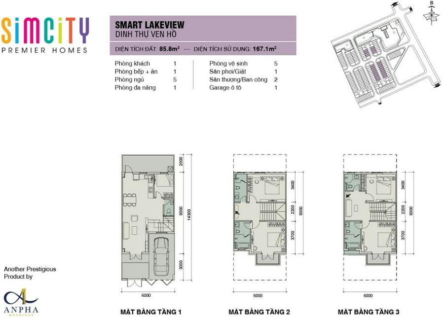 mat bang nha pho du an sim city premier homes smart lakeview
