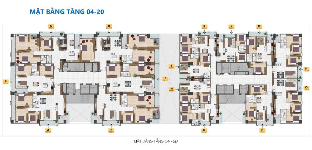 Mặt bằng căn tầng 4-20 dự án Tam Đức