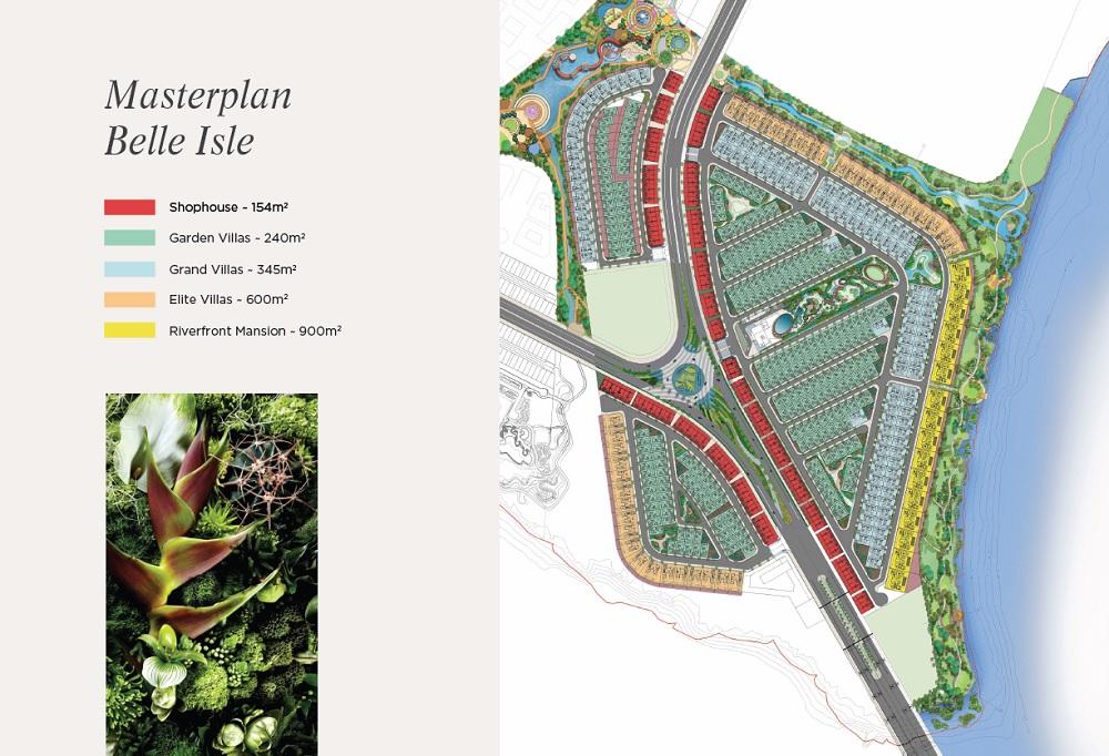 Mặt bằng master plan phân khu BELLE ISLE